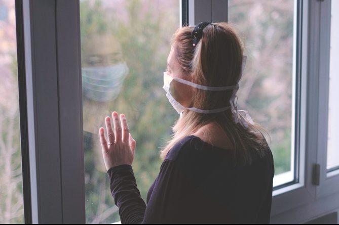 woman isolating from coronavirus