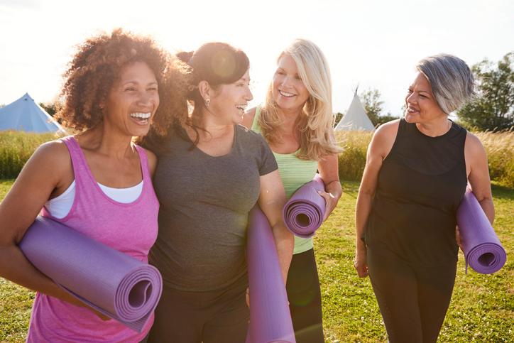 happy women at yoga retreat