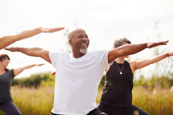 man enjoying fitness retreat in united states