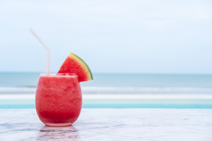watermelon juice on a beach at a diet and detox retreat